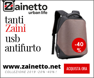 vendita on line di zaini e zainetti antifurto con sistema usb recharge