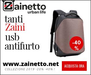 vendita on line di zaini e zainetti antifurto con sistema usb recharge